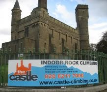 Curved Sign for The Castle Rock Climbing Center