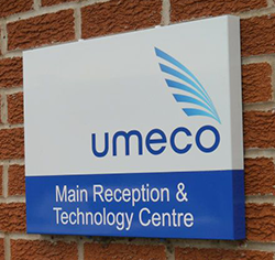 A branded reception sign