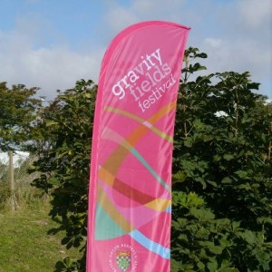 A banner for the Gravity Fields festival in the East Midlands